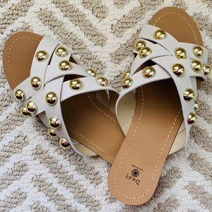 Shoes - 🆕 Gold Studded Crisscross Slide Sandal
